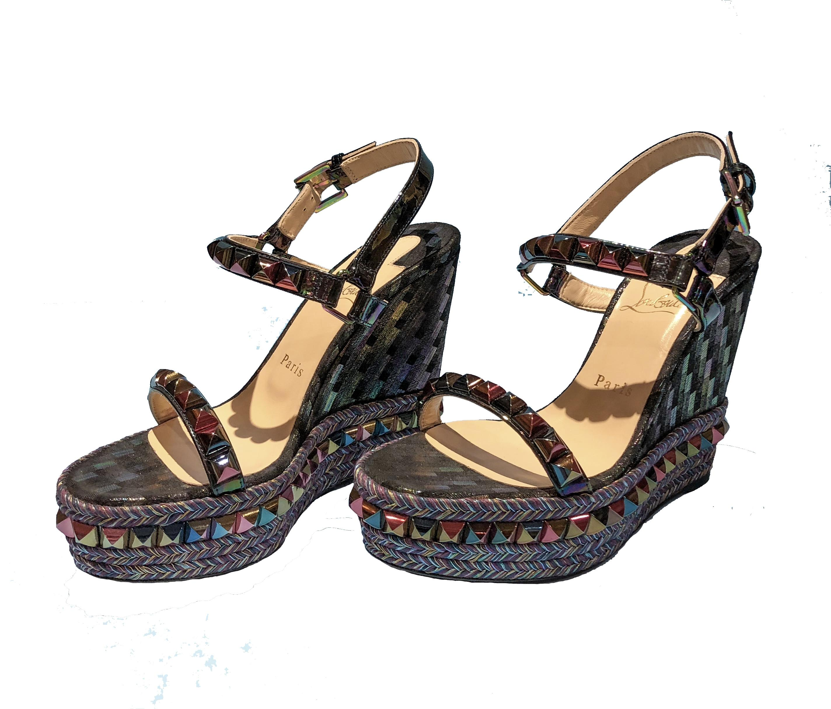 29e556b22237 ... Christian Louboutin Louboutin Louboutin Black Multi Cataclou Studded  Printed 120mm Wedge Red Sole Sandals Size EU ...