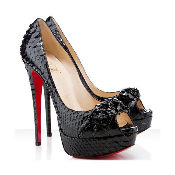 2fd57e1a52f Christian Louboutin Black New 39it Madame Butterfly Crystal Crystal Crystal  Python Platform High Heel Red Pumps Size US 8.5 Regular (M