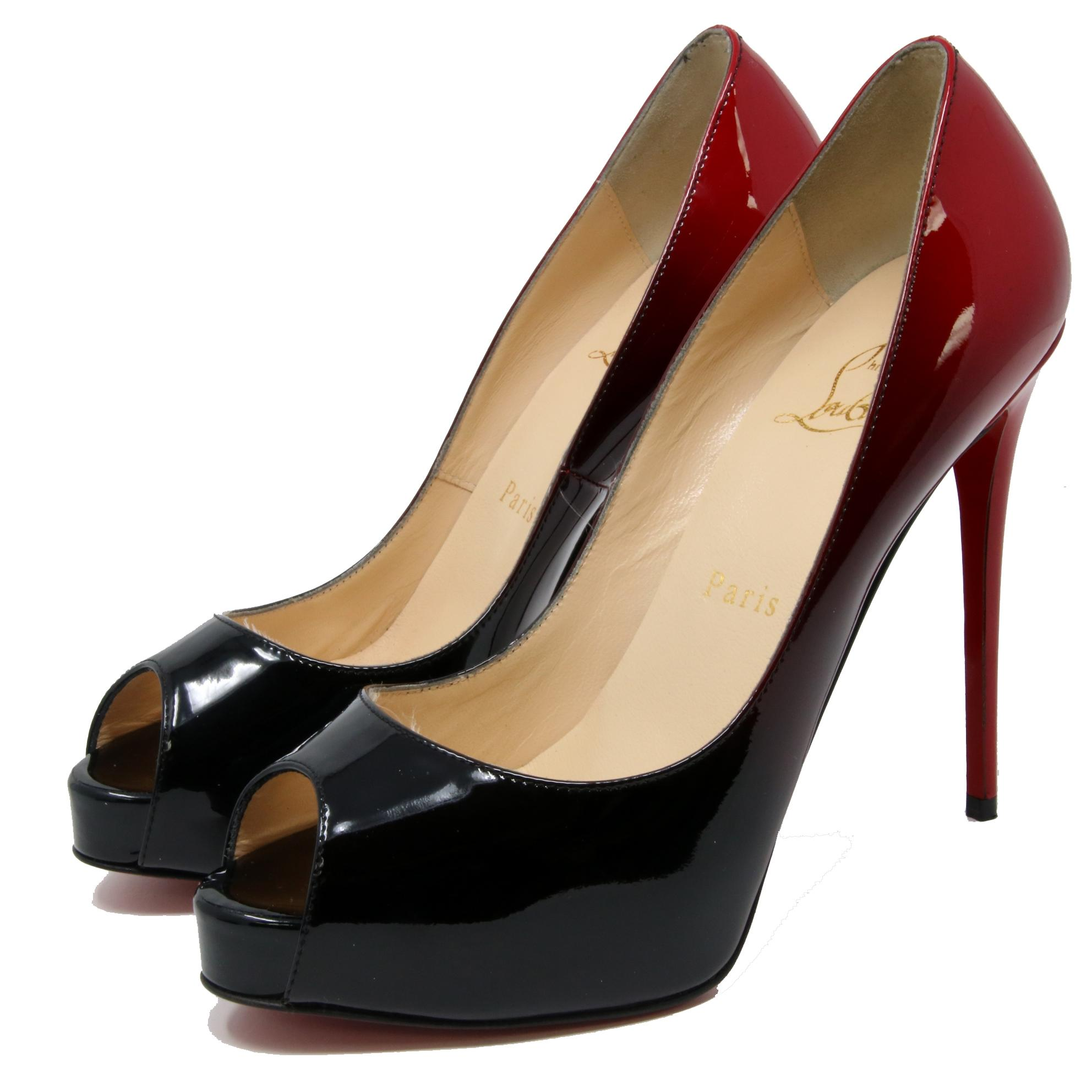 a17f814c1cd9 Christian Louboutin Black New New New Very Prive 120 Carmin Red Night Patent  Heel Pumps Size