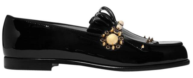 Christian Louboutin Black Octavian Patent Leather Loafer Flats Size US 9.5 Regular (M, B)