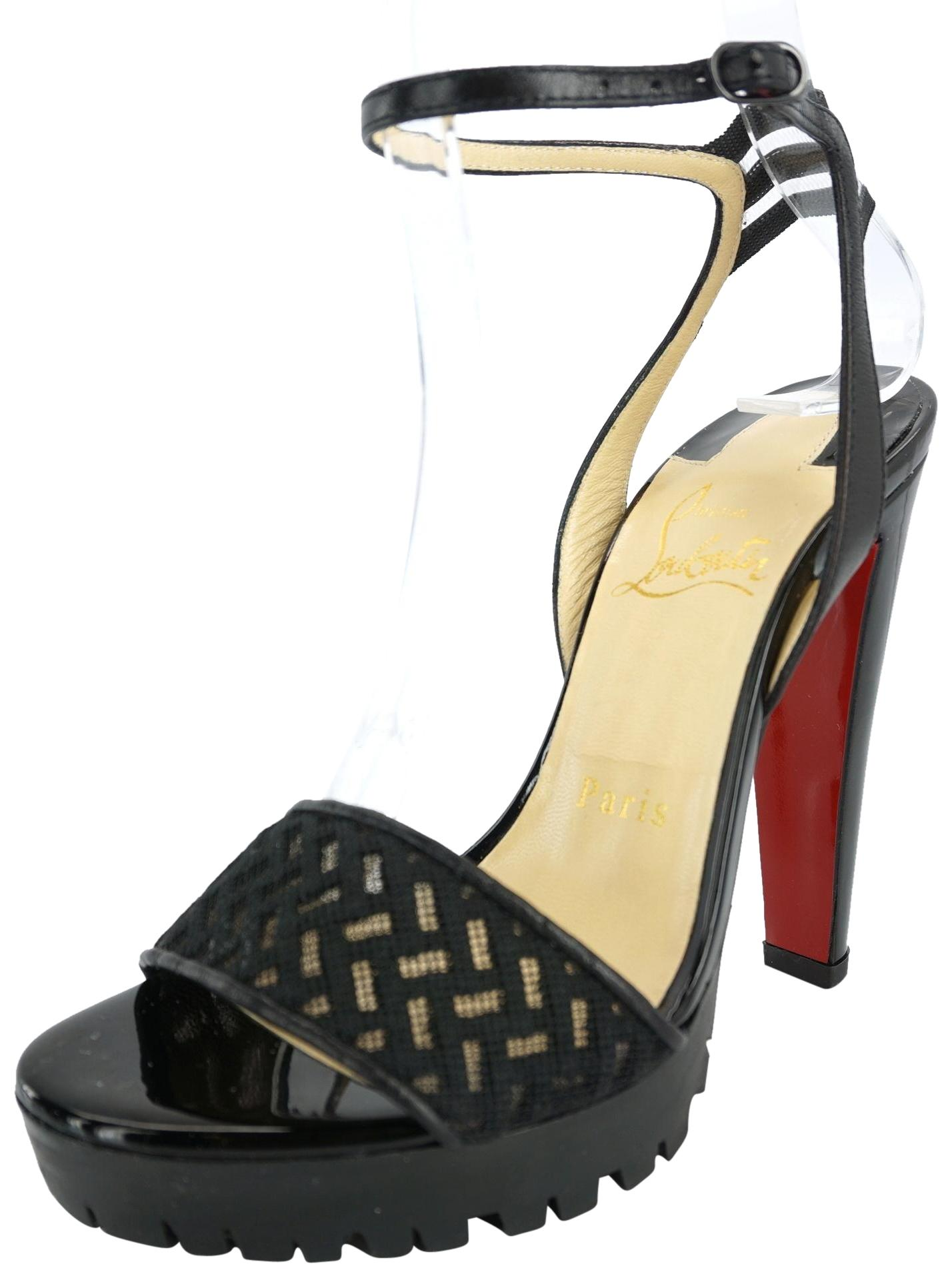 fee78a9c1738 Christian Louboutin Black Patent Mesh Volumetric Platform Platform Platform  Ankle Strappy Sandals Size EU 35.5 (Approx. US 5.5) Regular (M