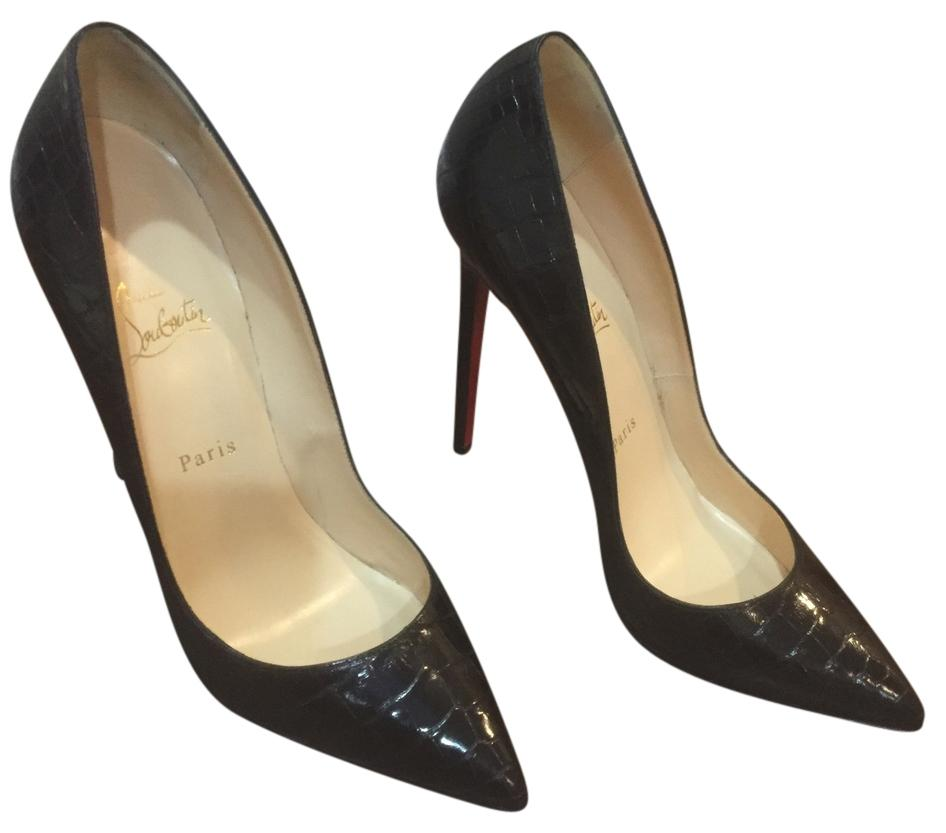 Christian Louboutin Black Pigalle Croco Pumps Size US 10.5 Regular (M, B)