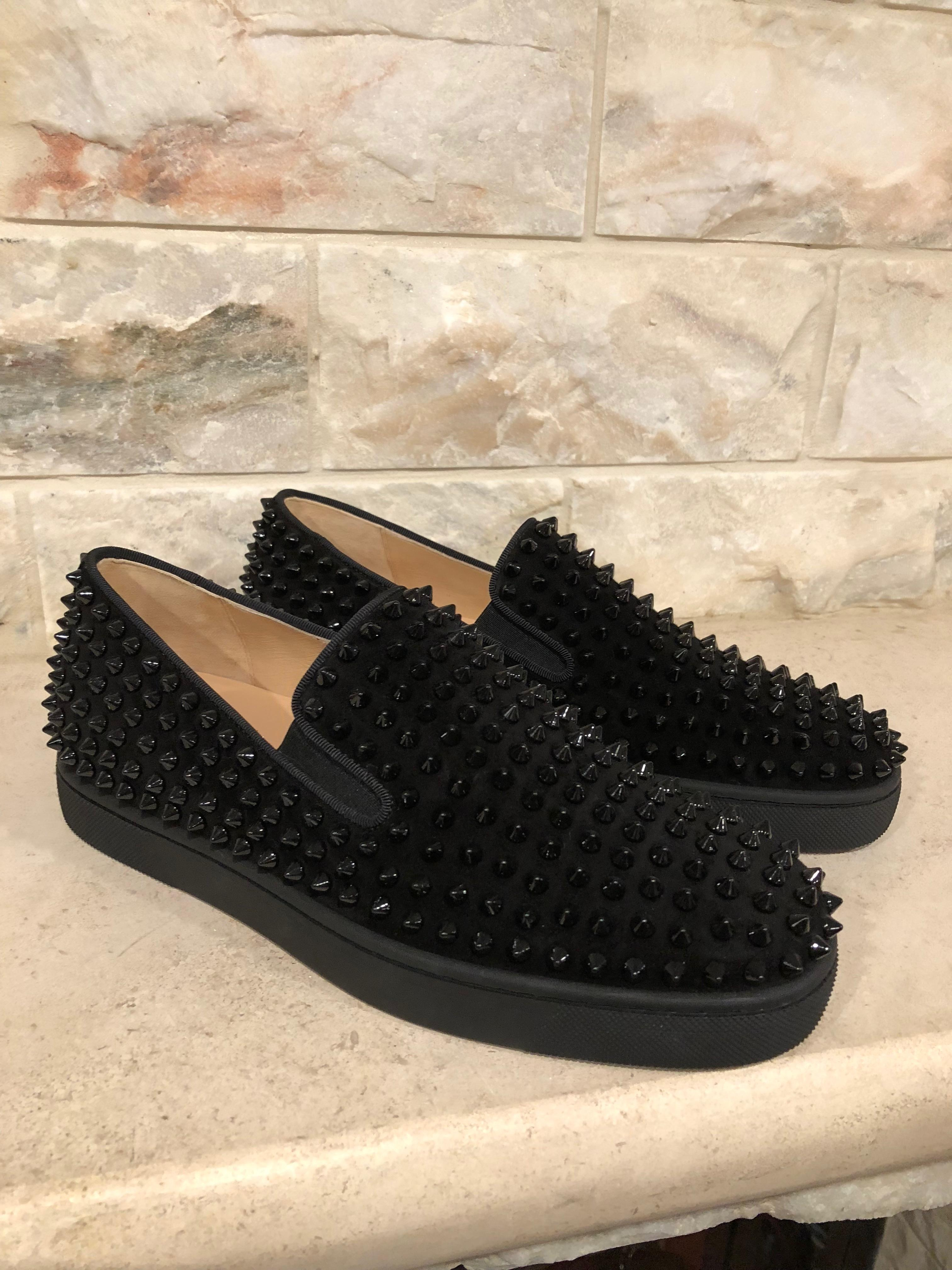 buy popular 1d0ab 7002f czech christian louboutin black suede sneakers 0d432 ae803