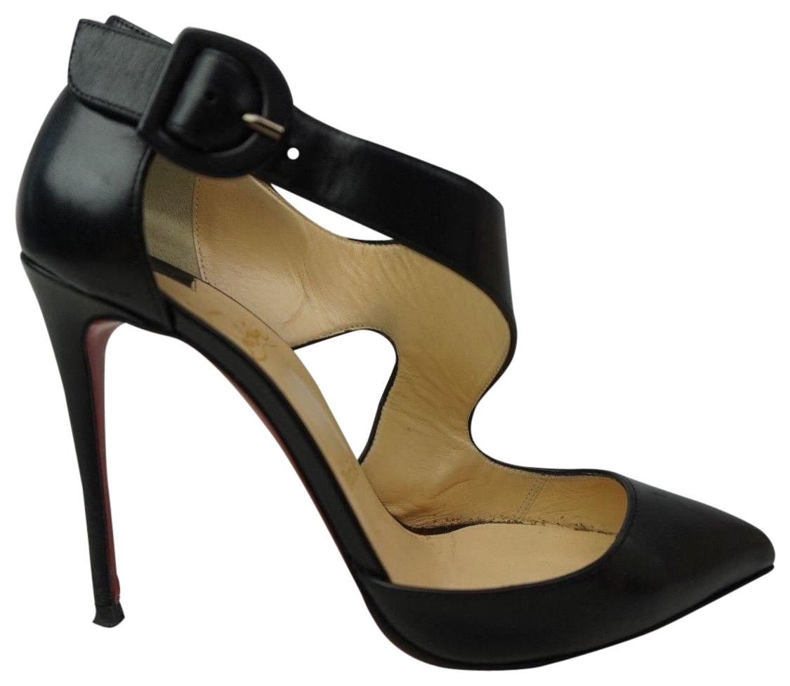 f403d9081958 Christian Louboutin Black Sharpeta Sharpeta Sharpeta 100mm Leather Buckle  Pumps Size EU 36.5 (Approx. US 6.5) Regular (M
