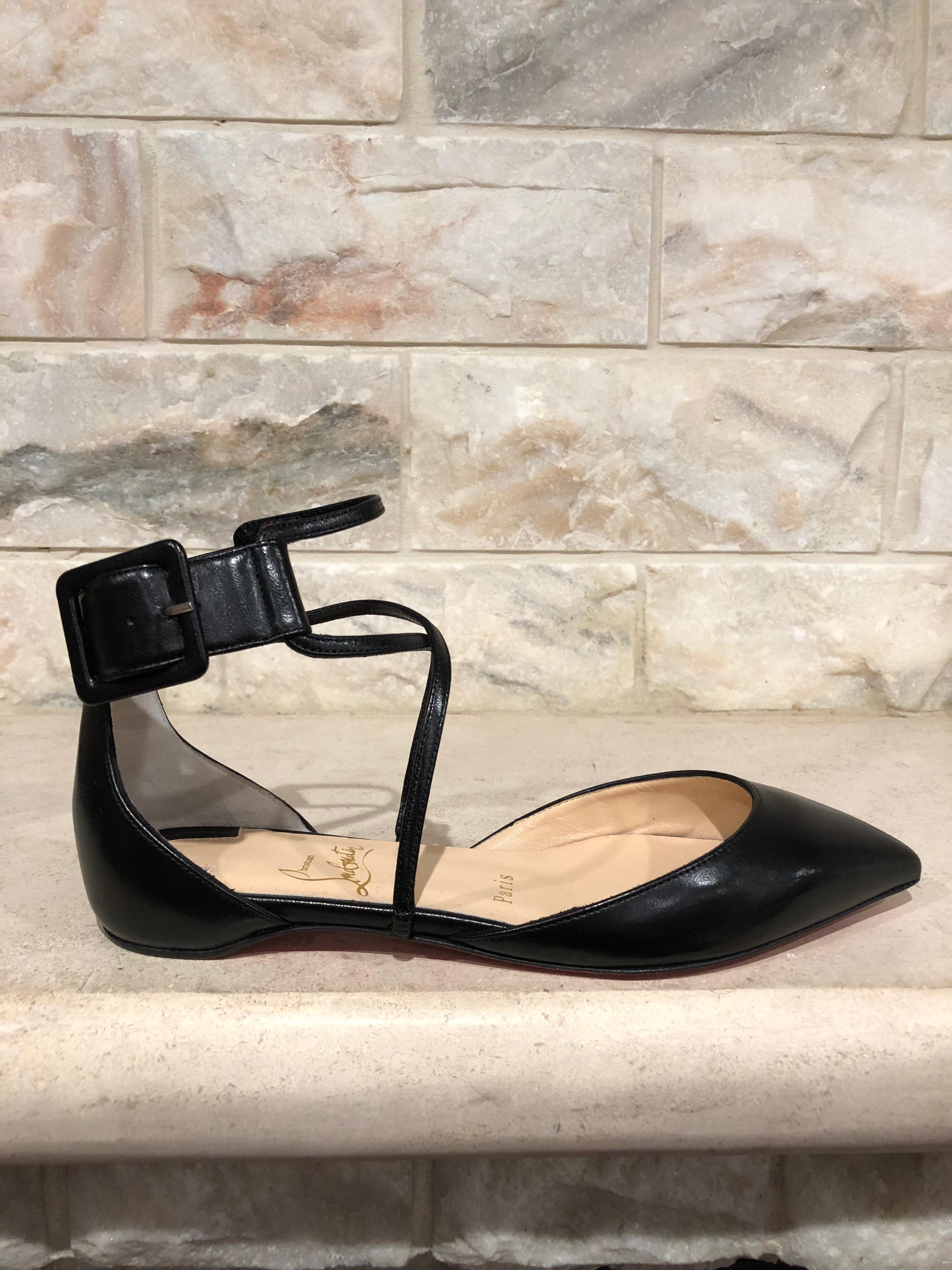 another chance 7b419 b33b8 Christian Louboutin Black Suzanna Strappy Pointed Ballerina ...