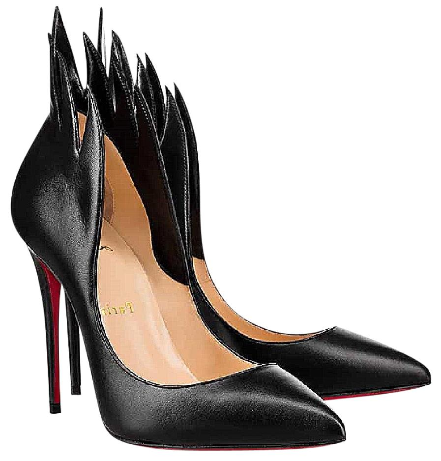 e2e90403f82a Christian Louboutin Black Victorina 100 Nappa Leather Flame Flame Flame  Heel 36 Pumps Size US 6