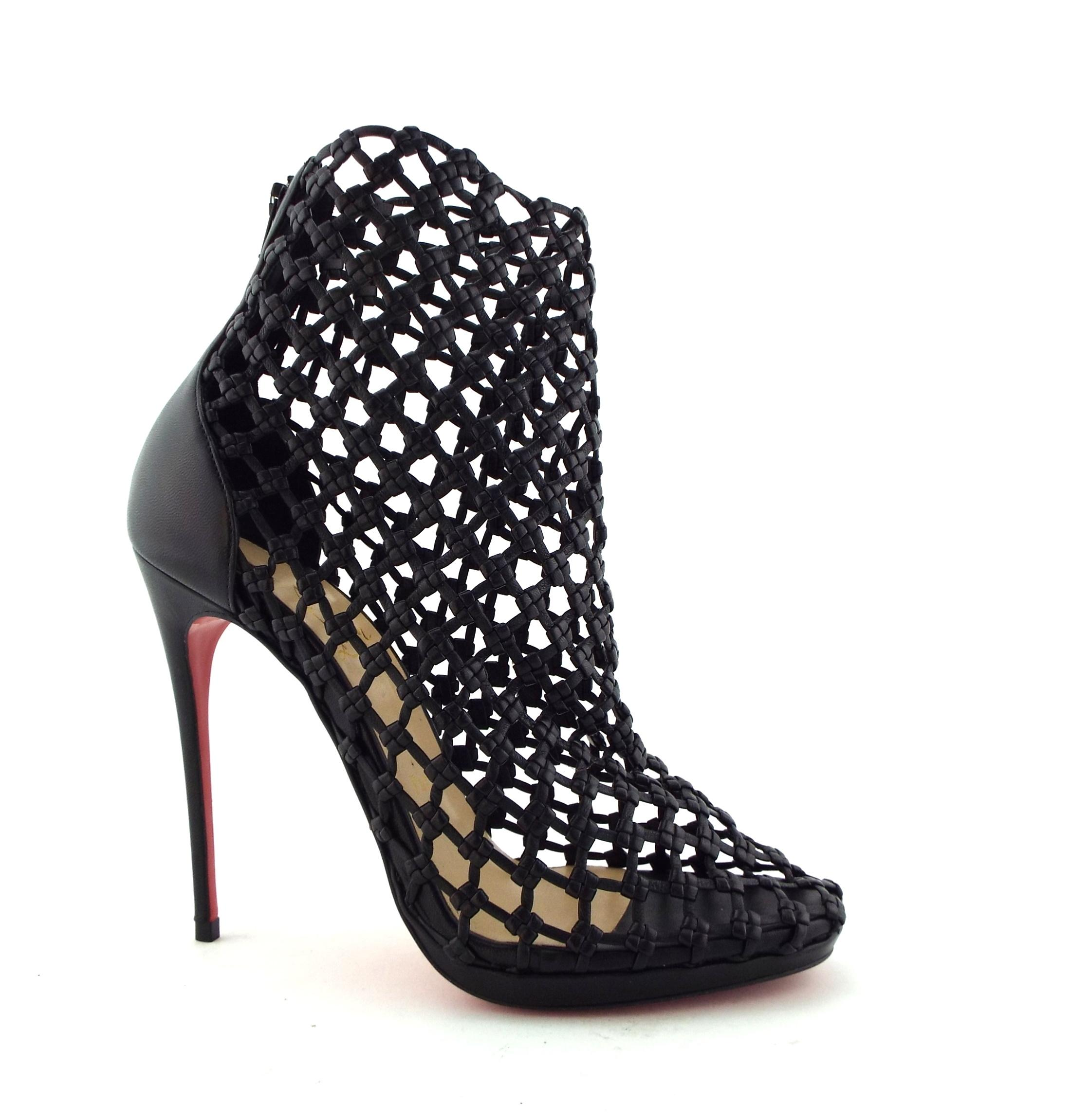 buy popular eaed3 74c7f Christian Louboutin Black Woven Leather Caged Ankle Boots ...
