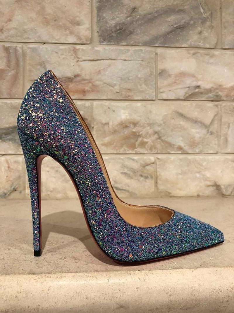 db9486b6dfa ... get christian louboutin pigalle follies dragonfly stiletto glitter blue  pumps.
