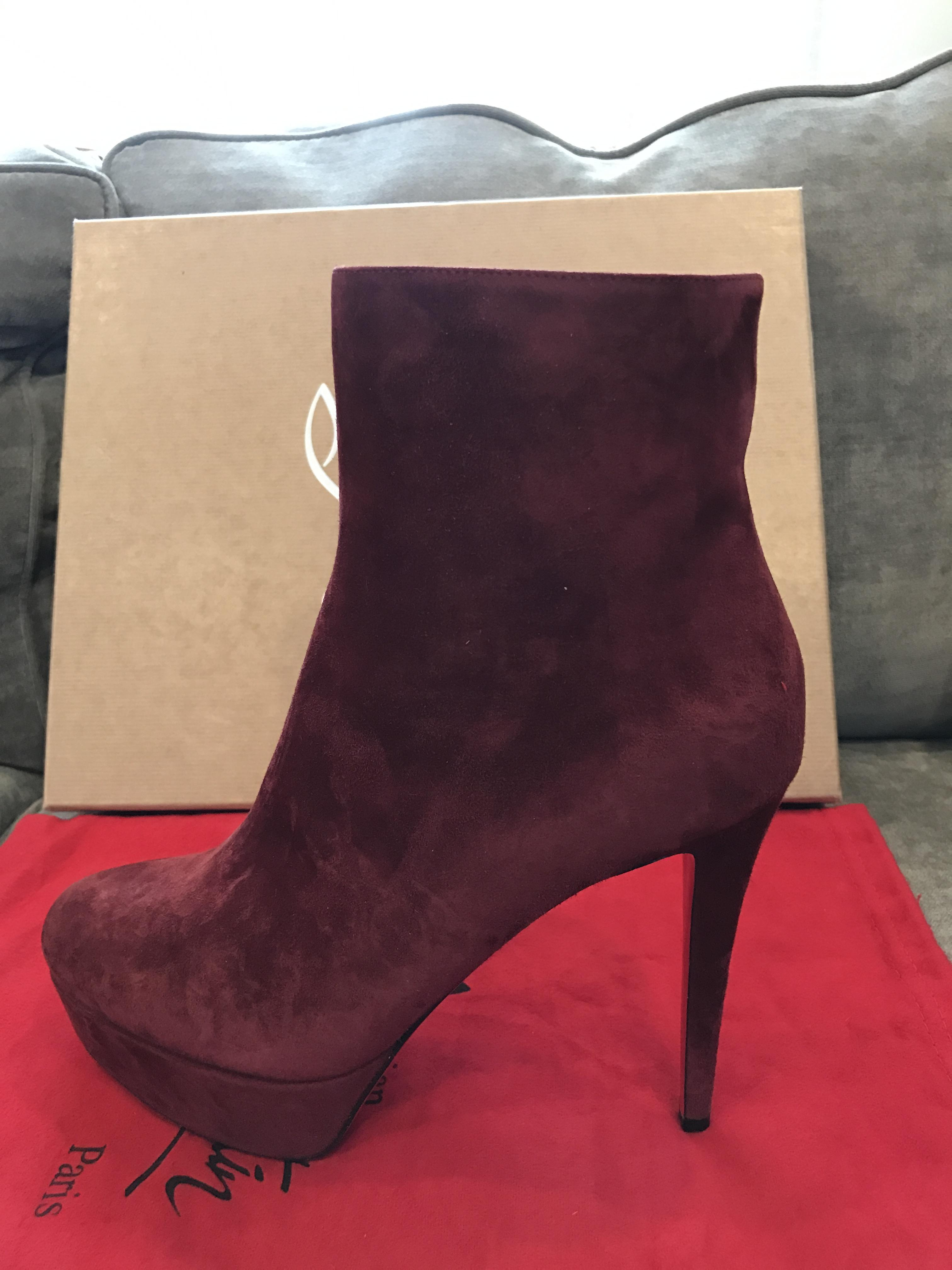 77f3bac69b9 ... Christian Louboutin Bordeaux Bianca Platform Burgundy Burgundy Burgundy  Suede Ankle Heel Boots Booties Size US ...