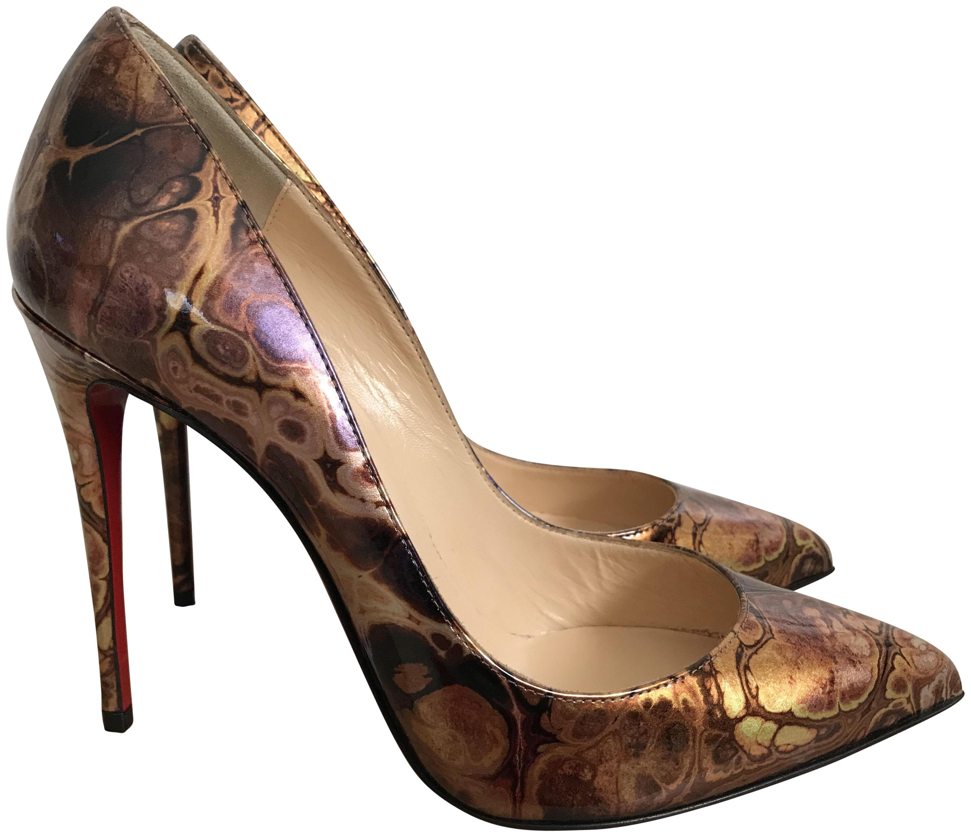 dff6a5ced299 Christian Christian Christian Louboutin Brown Bronze Pigalle Follies  Saturne Patent Pointed Pumps Size EU 37 ...