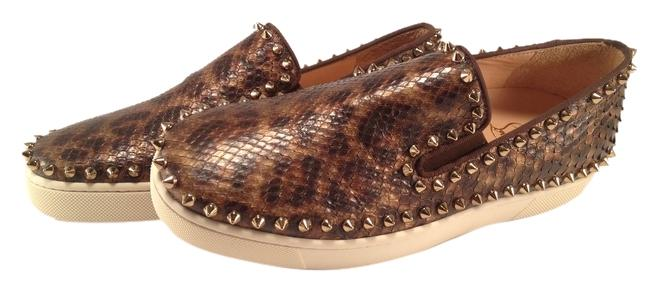 Christian Louboutin Brown Leopard Python Roller Pik Boat Spikes Loafers 38.5 #316 Flats Size US 8.5 Regular (M, B)