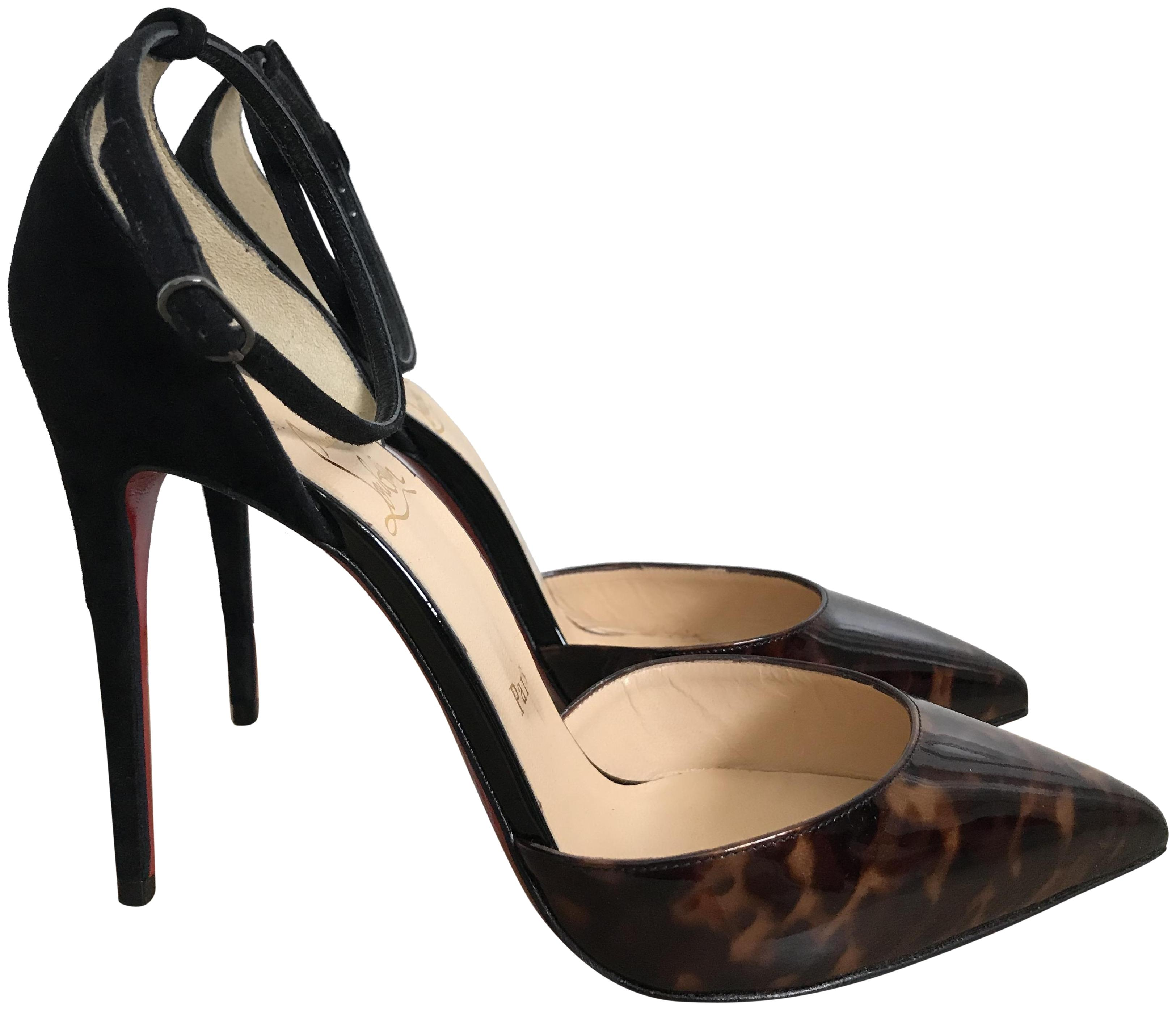 Christian Louboutin Brown Tortoise Black Patent Suede Pointed Pumps Size EU 37.5 (Approx. US 7.5) Regular (M, B)