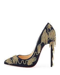 Christian Louboutin Dolly Party Suede Navy / Gold Pumps