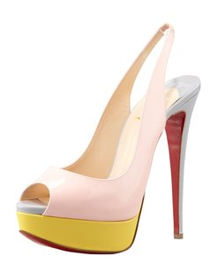 Christian Louboutin Color-blocking Slingback Patent Leather Leather Classic Pink, Yellow, Grey Pumps