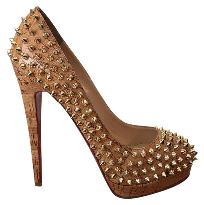 Christian Louboutin Embossed Cork Alti Spike Gold Spiked Eu 38.5 ...