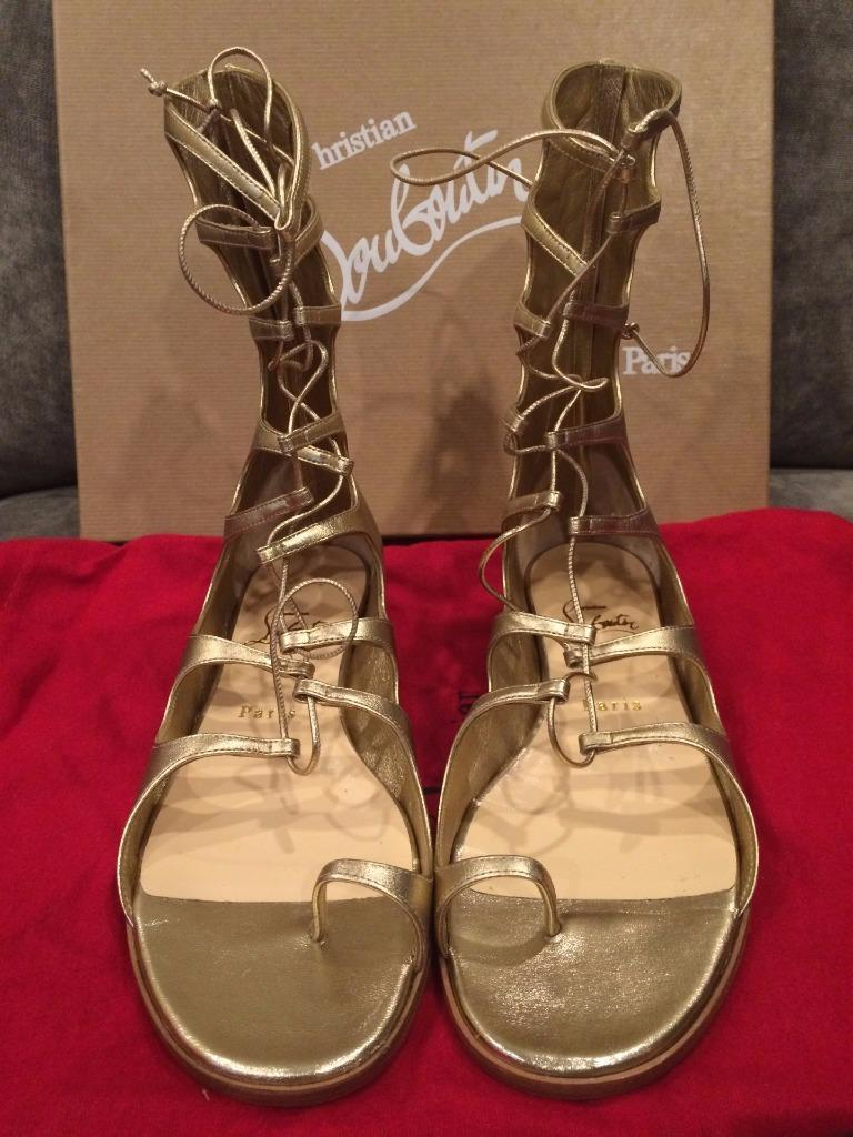 christian louboutin gladiator flat sandals black and gold louboutin shoes
