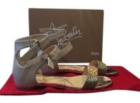 Christian Louboutin Tres Bea Beige Gold Flat Open Toe Sandals