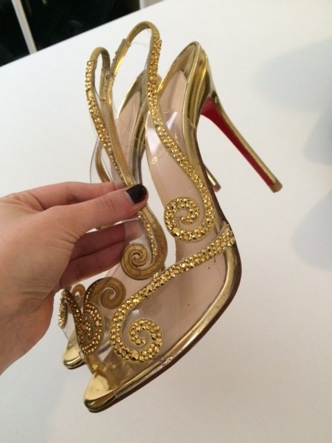 christian louboutin or or or crystal talons pompes taille 6 6162c1