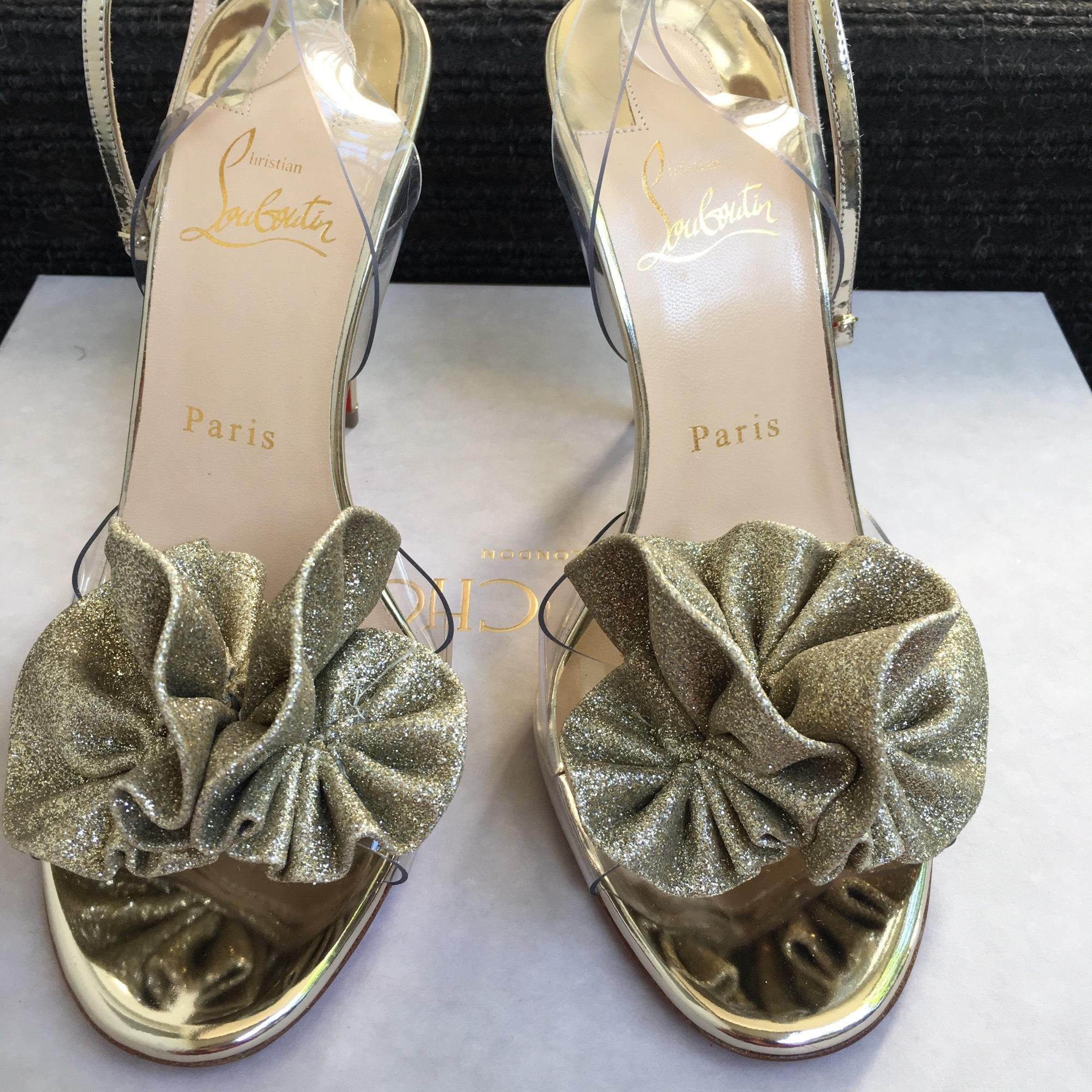 b2172cd38b72 US Christian Louboutin Gold Gold Gold Fossiliza Strap Formal Shoes Size EU  38 (Approx.