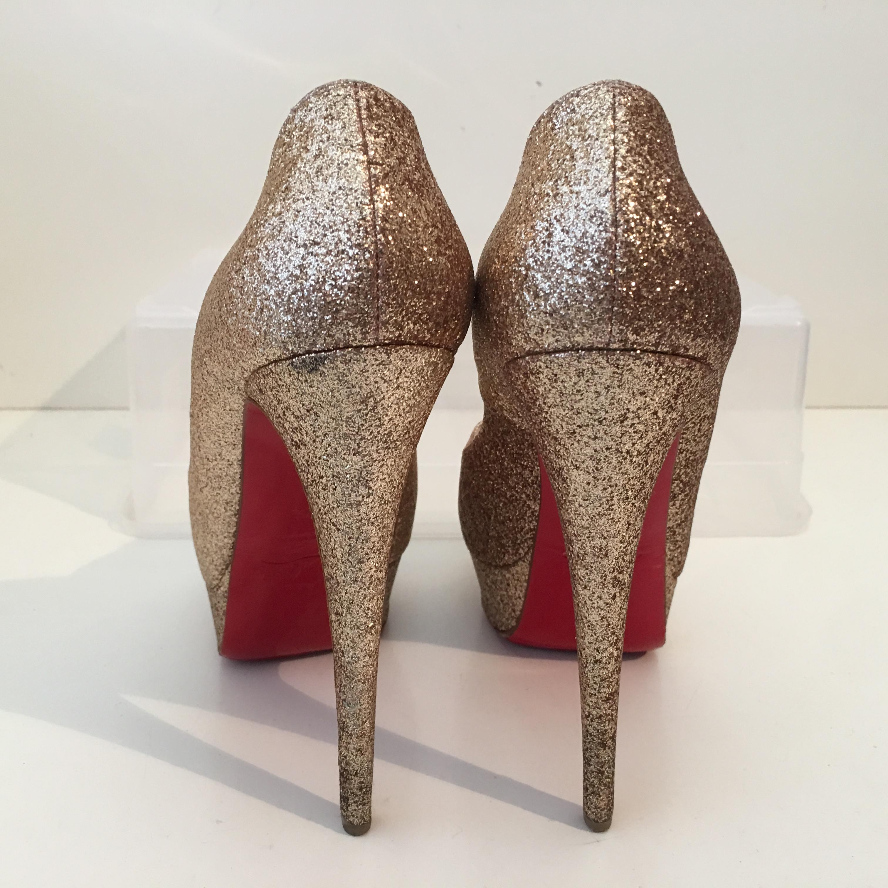 christian louboutin taille or dame peep glitter 37,5 - 7.5 taille louboutin us 7 pompes 47b27a