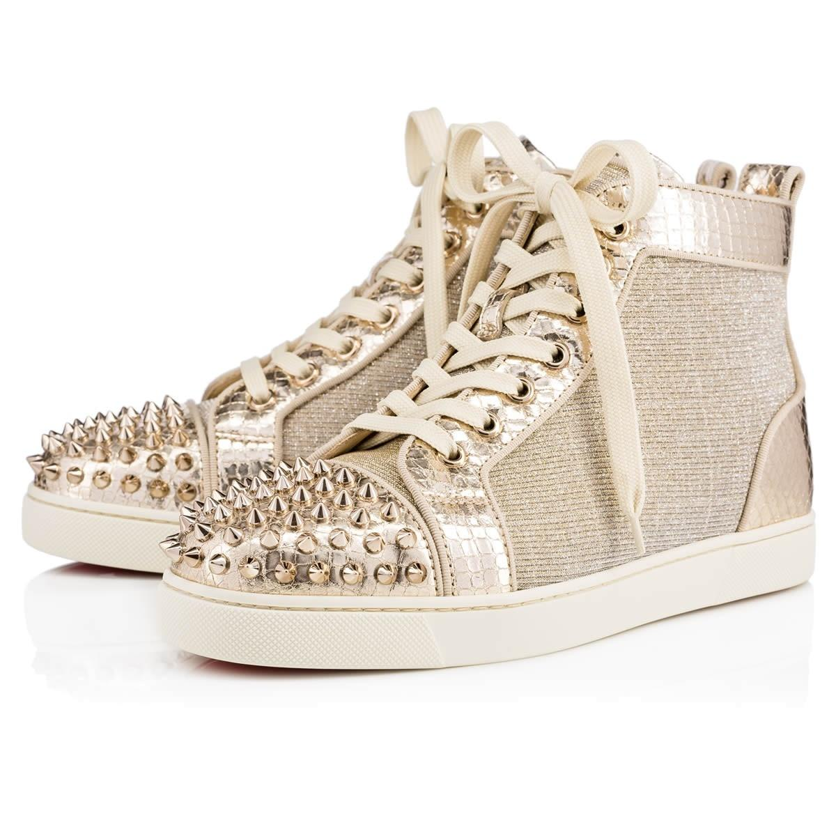 louboutin gold glitter sneakers