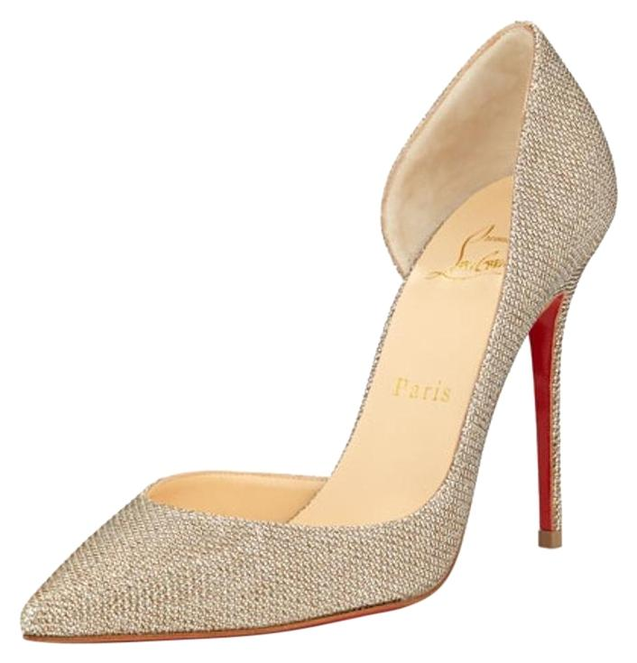 Christian Louboutin Gold Silver Iriza Half-d'orsay Glitter Red Sole Pump Formal Shoes Size US 11.5 Regular (M, B)