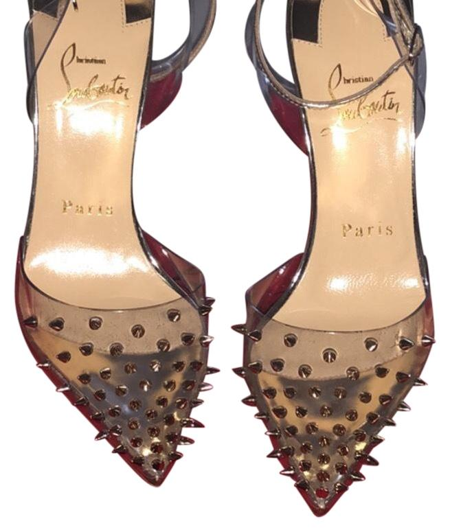 Christian Louboutin Gold with Clear Size Spikko 100 Studded Pumps Size Clear US 5.5 Regular (M, B) 2fd92b