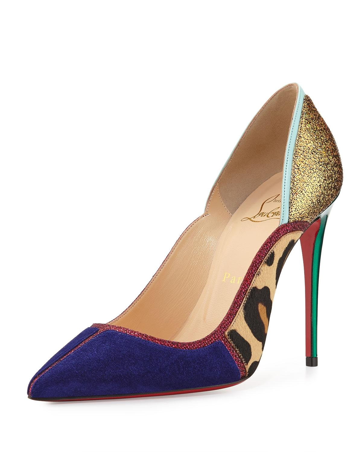 d08ce486769f Christian Louboutin Gold Violet Red Green Serianina Pointed-toe 100mm 100mm  100mm