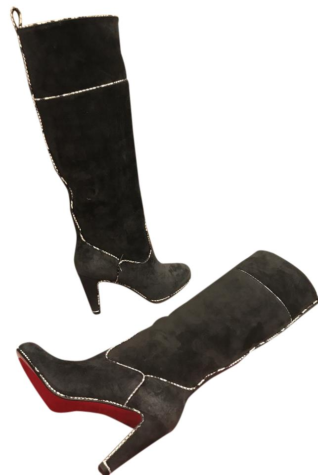 Christian Louboutin Grey Louloubotta 85 Suede Snake Trim Piped Knee High Tall 40 Boots/Booties Size US 10 Regular (M, B)