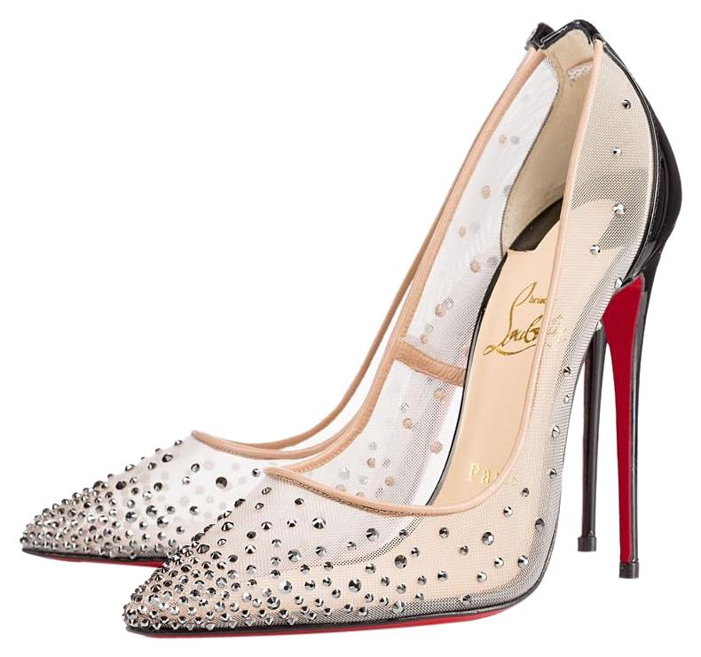 Christian Louboutin Hematite New Follies Strass 100 Crystals 38.5 Pumps Size US 8.5