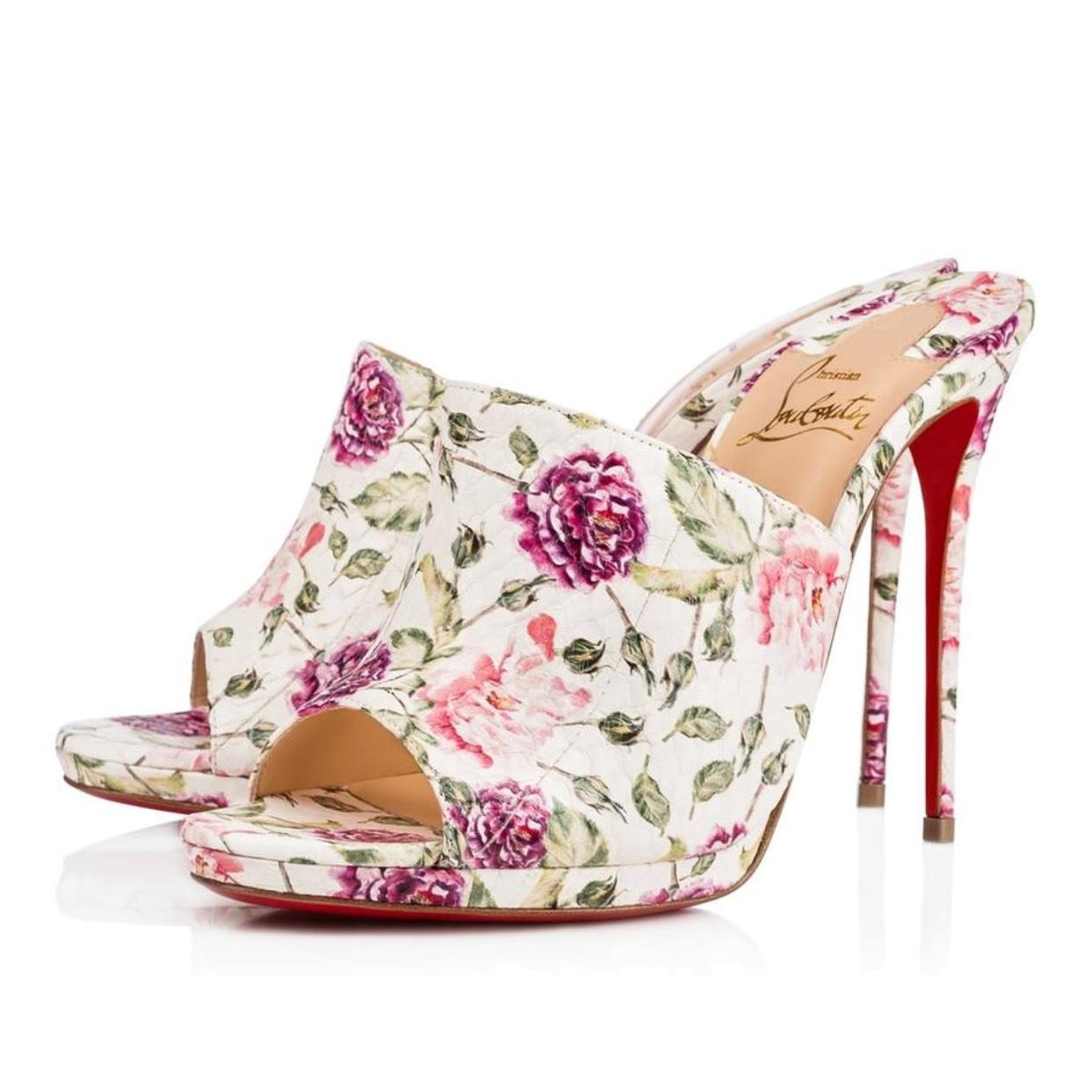 8c9e077114c Christian Louboutin Latte (Per The The The Box) Floral Pigamule  Mules Slides Size EU 39 (Approx. US 9) Regular (M