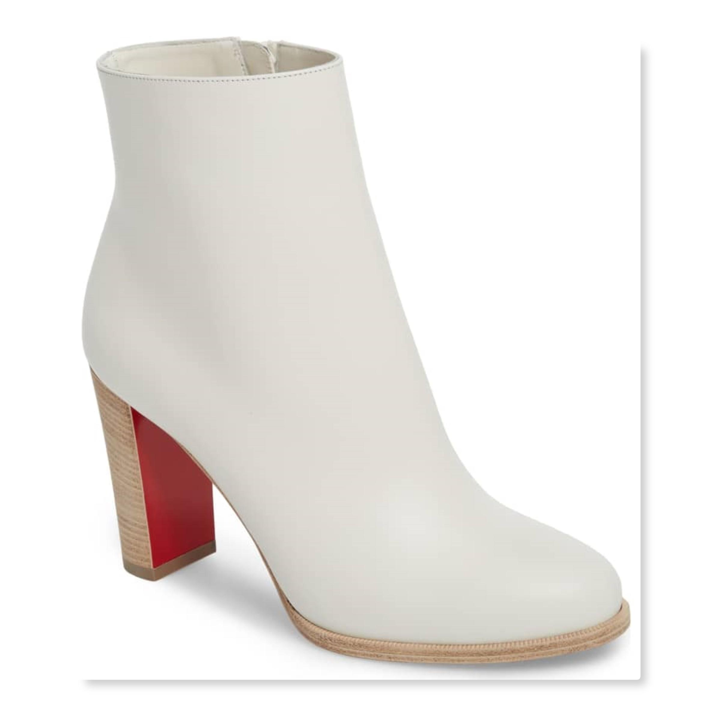 Christian Louboutin Latte/White Leather Block Heel Ankle Boots/Booties Size EU 37 (Approx. US 7) Regular (M, B)