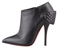 Christian Louboutin Leather Ankle Red Sole Black Boots