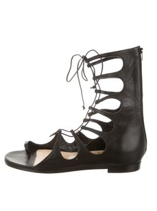 Christian Louboutin Leather Lace Up Peep Toe Gladiator Strappy Black Sandals