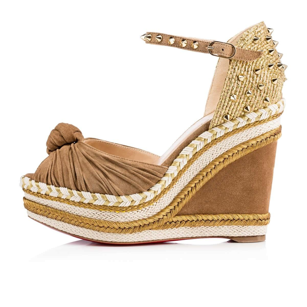 christian louboutin gold wedges