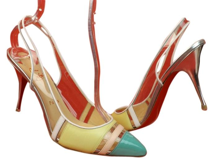 Christian Louboutin Multi-color Highway Patent Leather Pvc Slingback 40.5 Pumps Size US 9.5 Regular (M, B)