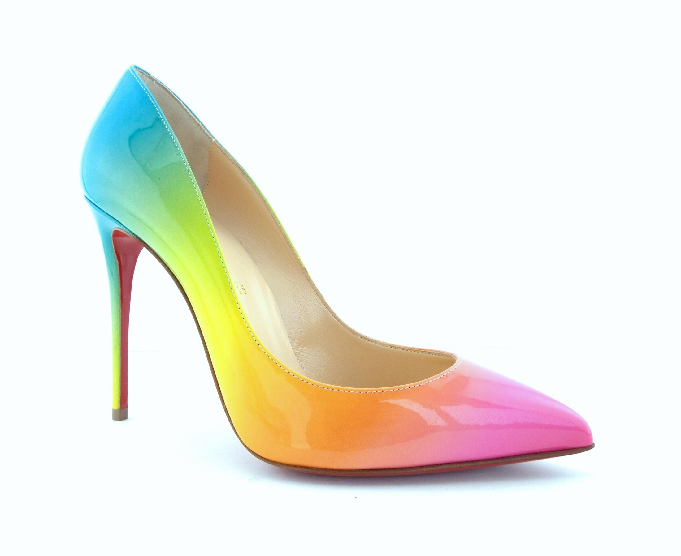 Christian Louboutin Multi Color Patent Leather Pointed Toe Pumps US Size EU 37 (Approx. US Pumps 7) Regular (M, B) eb13b7