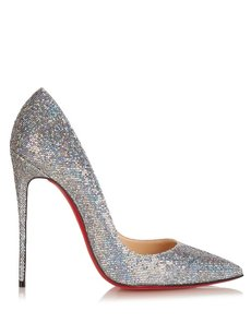 Christian Louboutin Multi Colored Silver Pumps