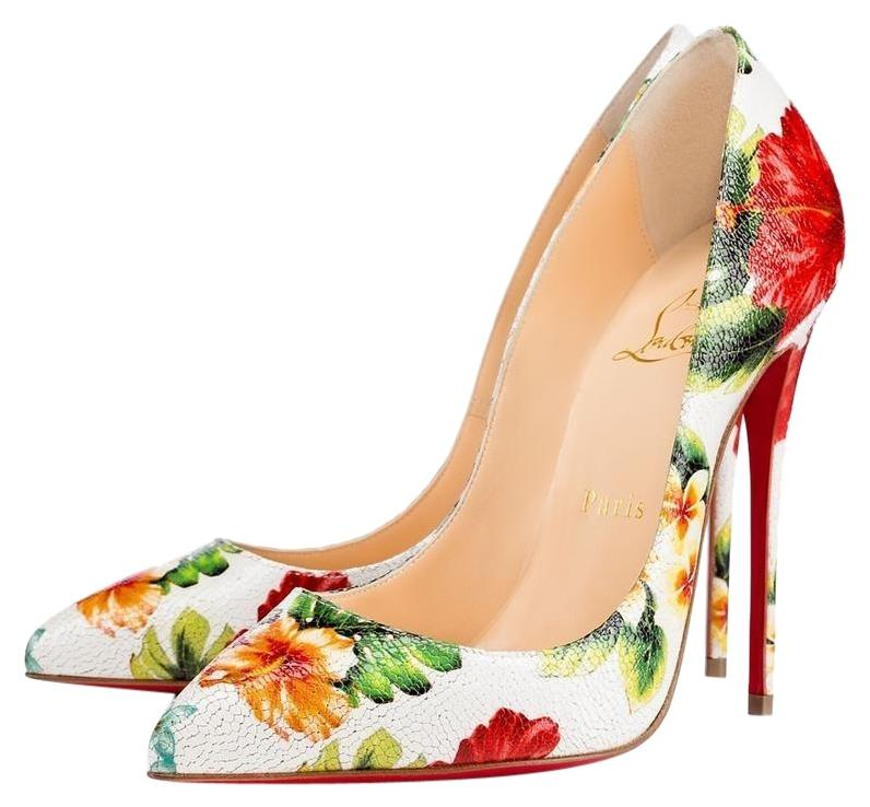 Christian Louboutin Multicolor Classic Pigalle Follies 100mm Hawaii Printed Point Toe Heels Pumps Size EU 37.5 (Approx. US 7.5) Regular (M, B)
