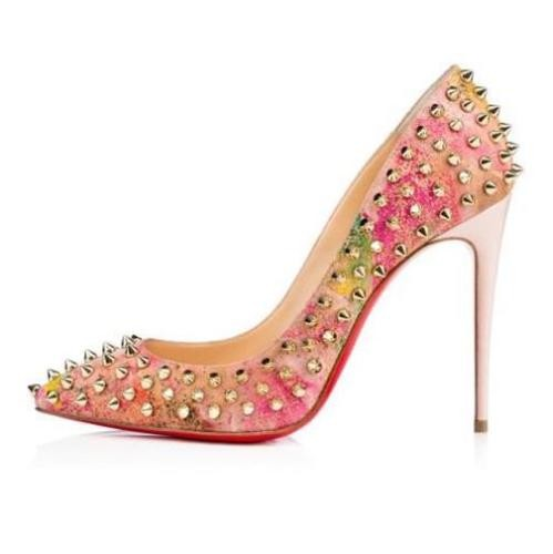Christian Louboutin Multicolor Follies Spikes 100 Studded Cork Heels Blooming Pumps Size US 12