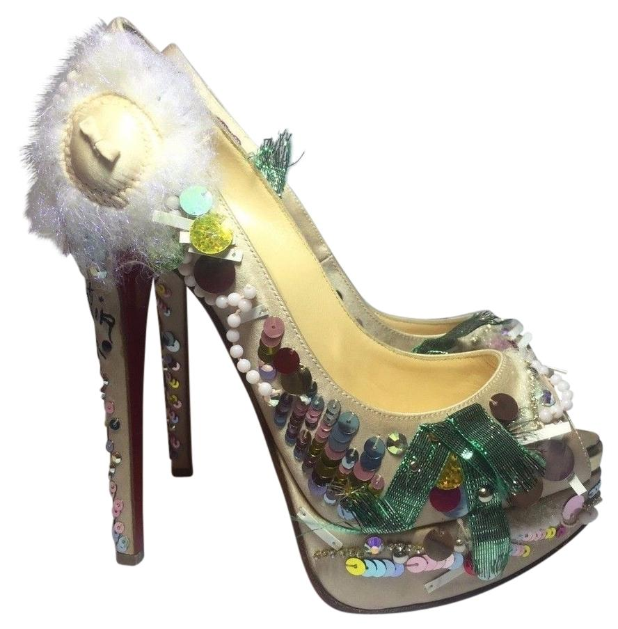 Christian Louboutin Multicolor Make Up Trash 150 Crepe Satin Euro 35.5 / Pumps Size US 5.5