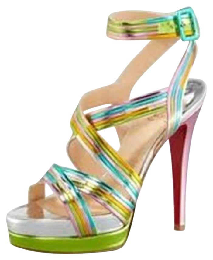 Christian Louboutin Multicolor Meteorita Metallic Leather Platform Strappy Heels Sandals Size US 9