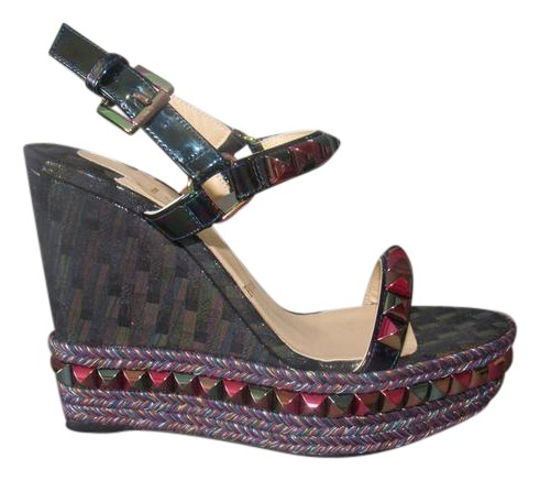 Christian Louboutin Multicolor New Cataclou 140 Stellar Suede Studded Euro Wedges Size EU 38 (Approx. US 8) Regular (M, B)