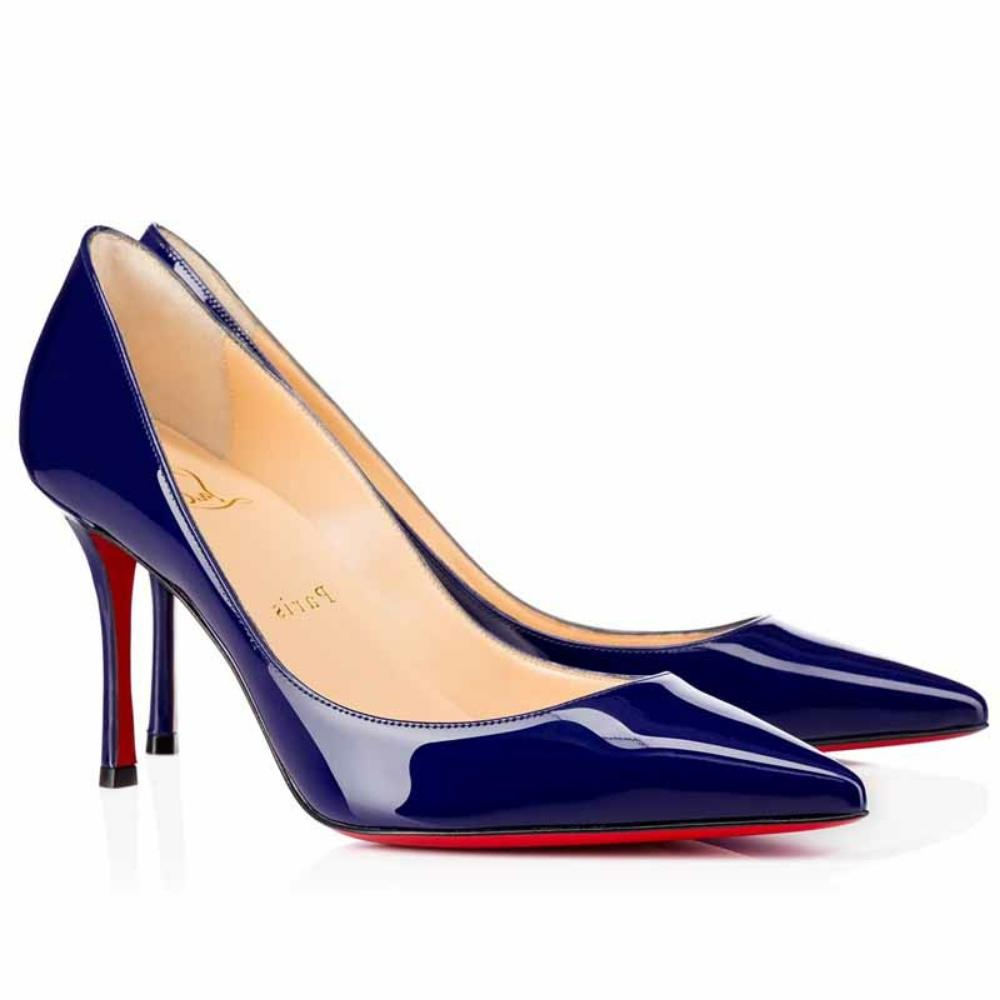 Christian Louboutin Navy Decoltish Patent 85mm Pumps Size US 8 Regular (M, B)
