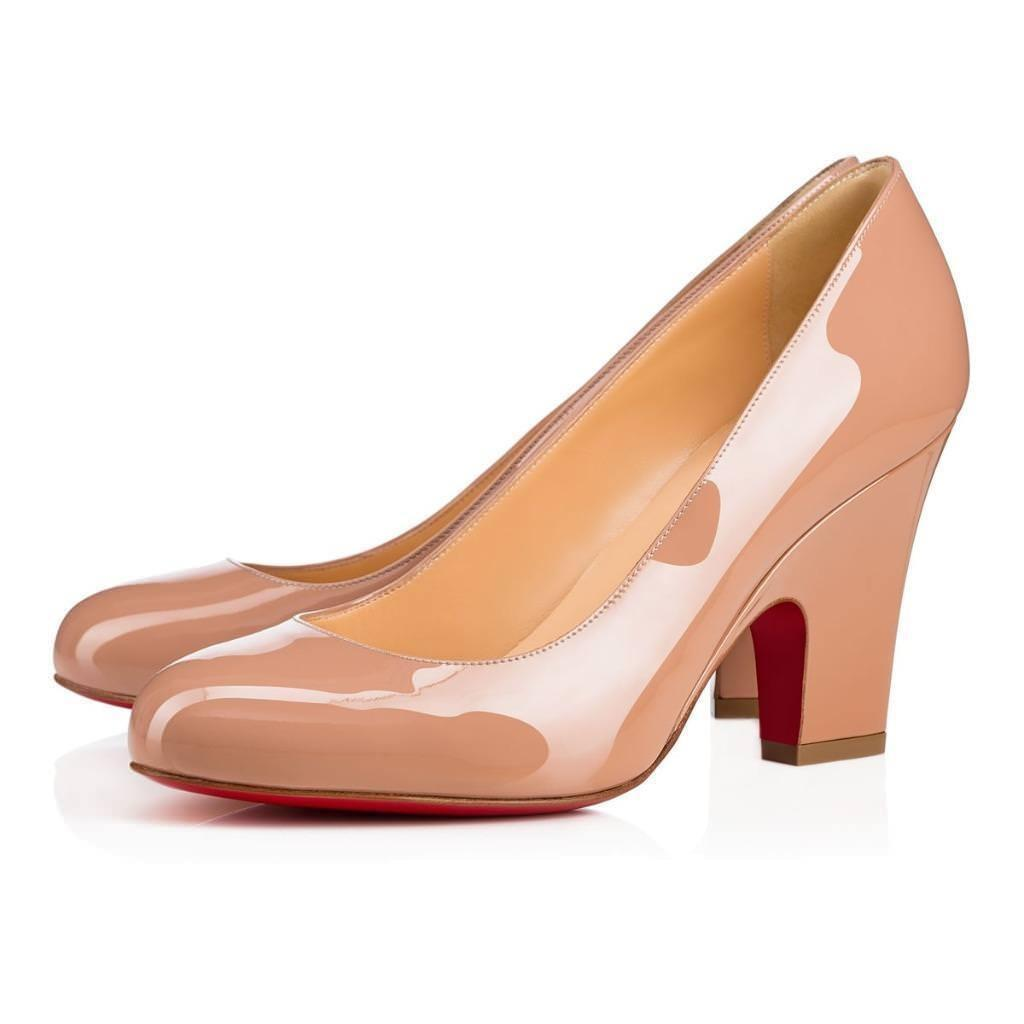 7f5279be8f3 Christian Christian Christian Louboutin Nude Akdooch 85 Patent Leather  Carved Wedge Pumps Size EU 37 (