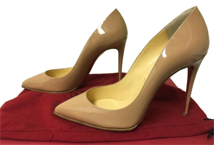 Christian Louboutin Nude Pigalle Follies 100mm Patent Leather Sz. 39 Pumps Size US 9 Regular (M, B)
