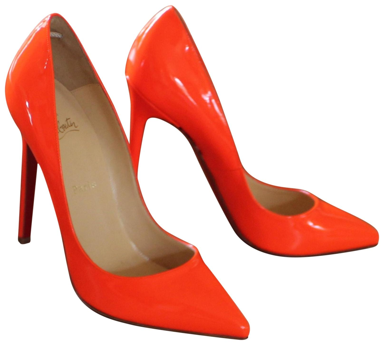 b11d2ac351c1 ... coupon code for christian louboutin neon patent patent leather pointed  toe so kate orange pumps cabab