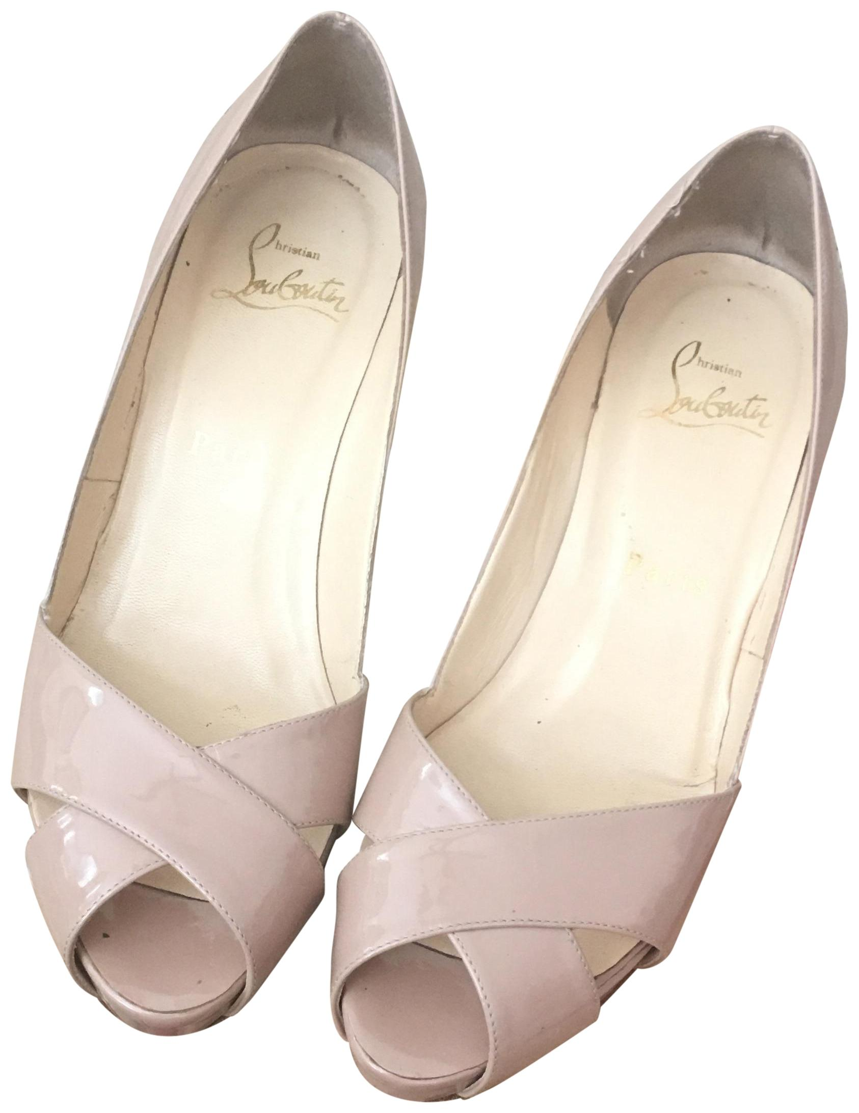 8a60d710b34 Christian Louboutin Louboutin Louboutin Patent Nude Shelly Leather Sandals  Size EU 36 (Approx. US
