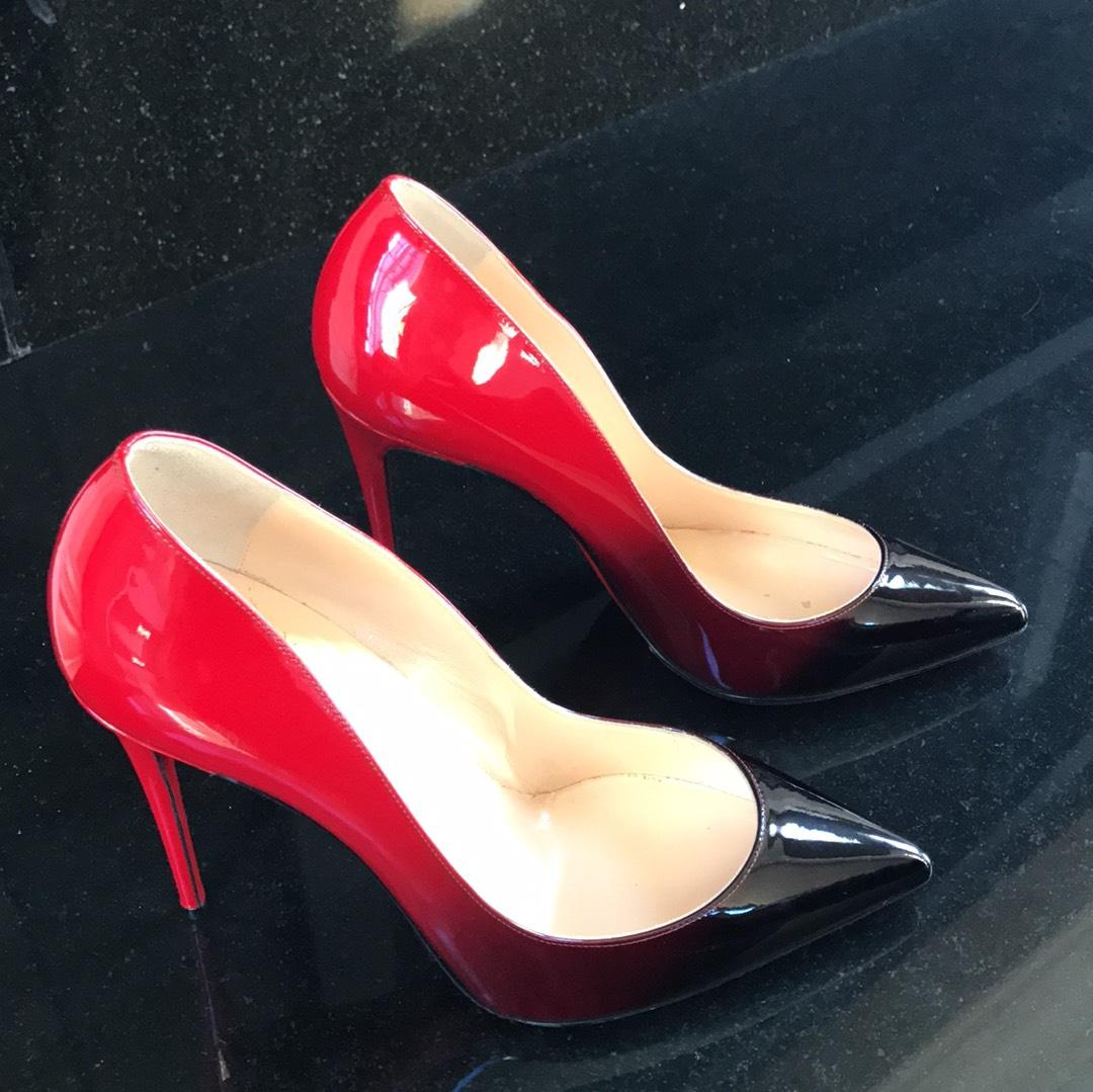 ab73e2b80e86 ... Christian Louboutin Pigalle Follies 100 Black Red Patent Degrade  Stiletto Stiletto Stiletto 39 Pumps Size US ...