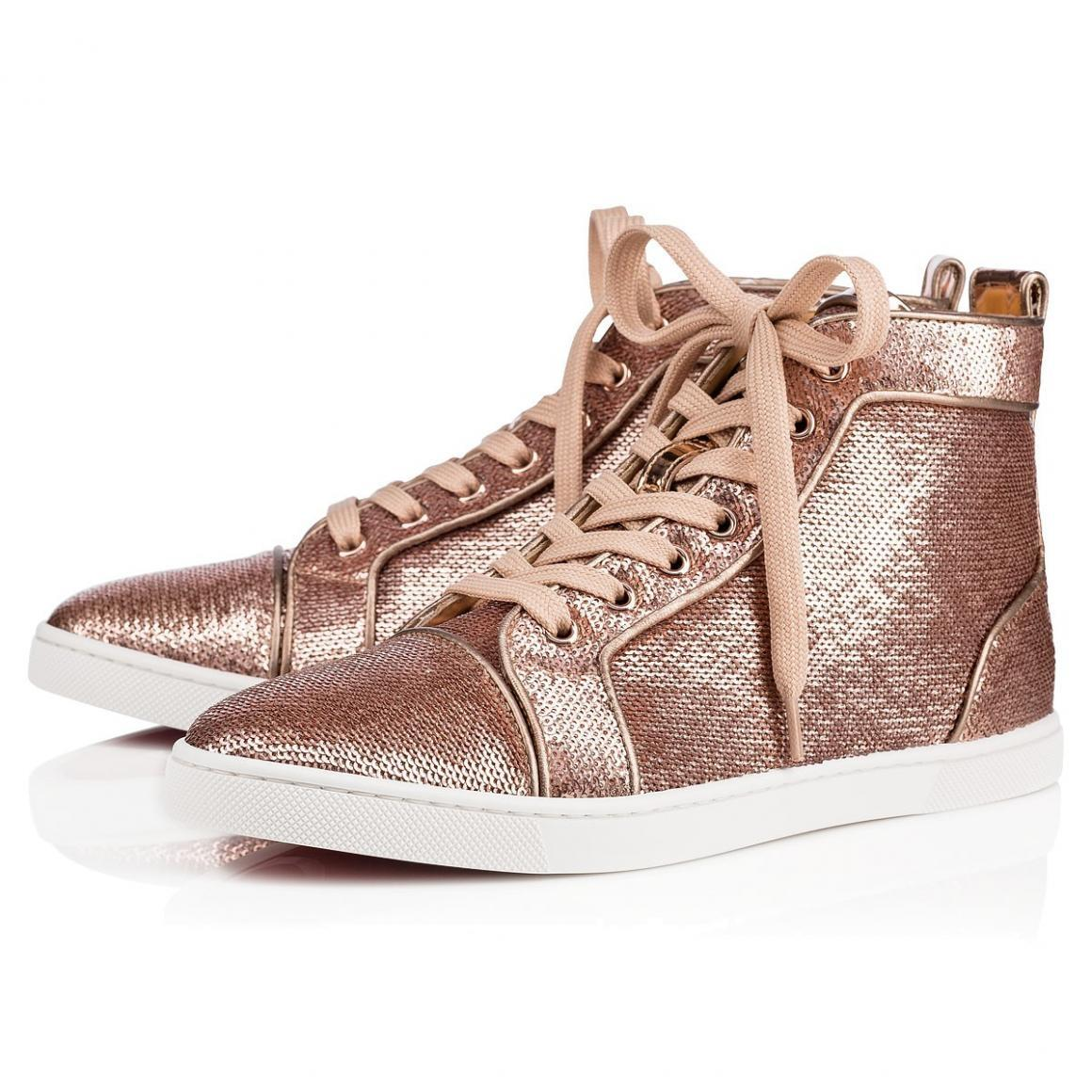 Christian Louboutin Pink Classic Sequin Embellished Bip-bip High Top Sneakers Trainers Sneakers Size EU 40 (Approx. US 10) Regular (M, B)